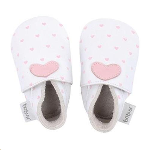Bobux - Soft Soles - Wit met roze hartjes - L