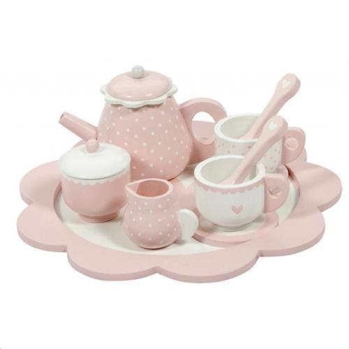 Theeservies hout pink