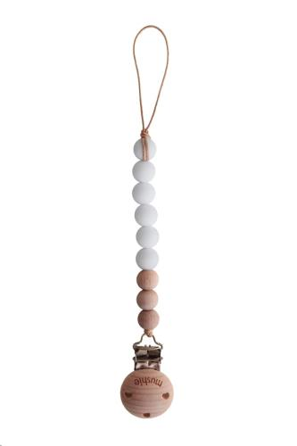 Fopspeenketting CLEO White/Wood