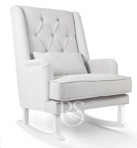 Schommelstoel Crystal Royal Rocker silver grey, white legs