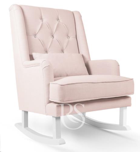 Schommelstoel Crystal Royal Rocker blush pink, white legs