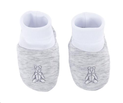 Babyslofjes jersey teddybeer -  Grijs M:  T1