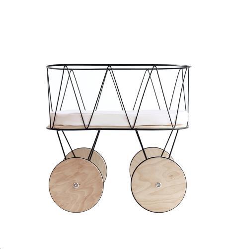 Poppenwagen metaal/hout