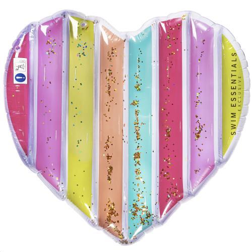 Luchtmatras Hart Regenboog Glitter