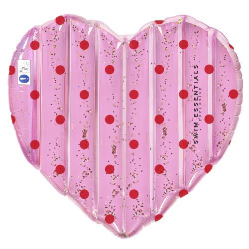 Luchtmatras Hart roze met stippen 150 cm