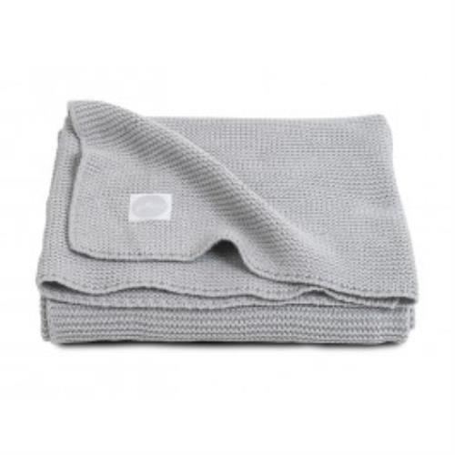 Deken 75x100cm Basic knit light grey