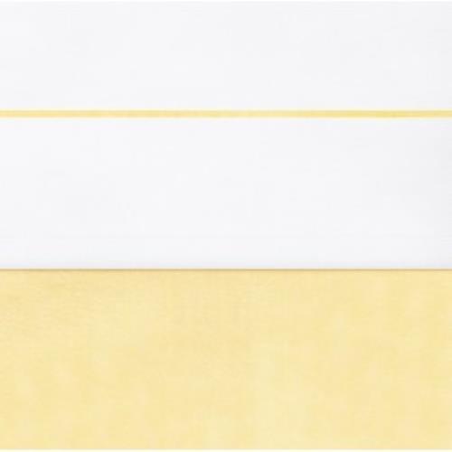 Laken 75x100cm wit met bies yellow