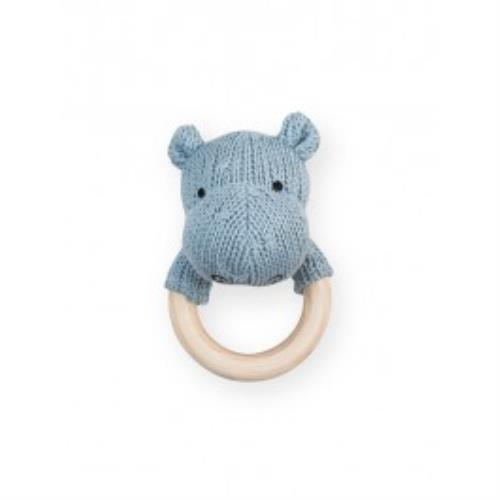 Rammelaar bijtring Ø 7cm Soft knit hippo soft blue