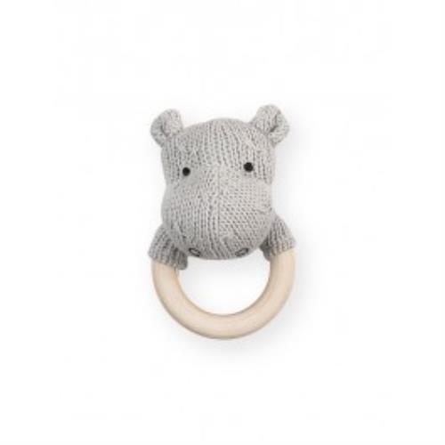 Rammelaar bijtring Ø 7cm Soft knit hippo light grey