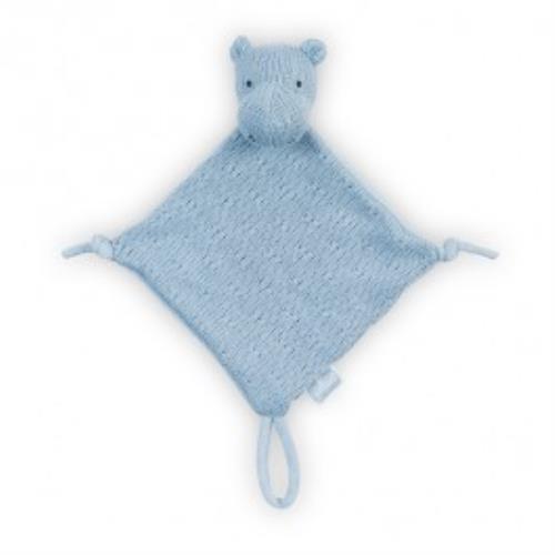 Knuffeldoekje Soft knit hippo soft blue
