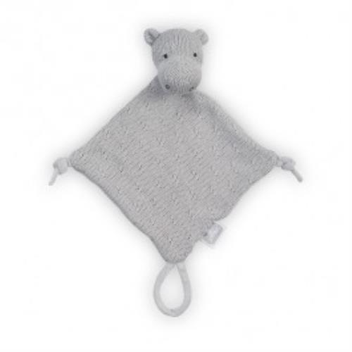 Knuffeldoekje Soft knit hippo light grey
