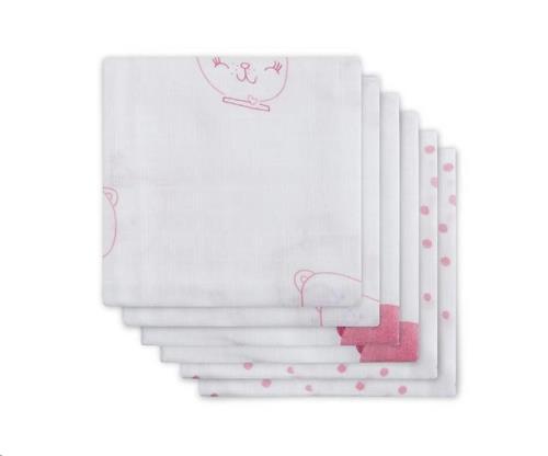 * Hydrofiel luier Funny bear pink (6pack)