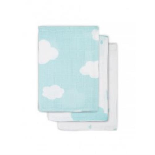 Hydrofiel washandje Clouds jade (3pack)