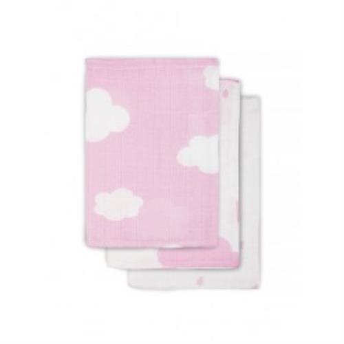 Hydrofiel washandje Clouds pink (3pack)