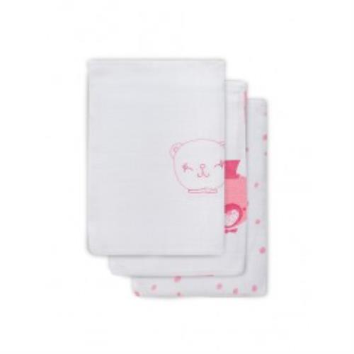 Hydrofiel washandje Funny bear pink (3pack)