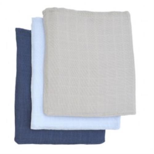 Hydrofiel washandje marine/lichtblauw/lichtgrijs (3pack)