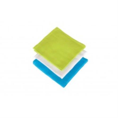 Monddoekje hydrofiel soft lime/aqua/wit (3pack)