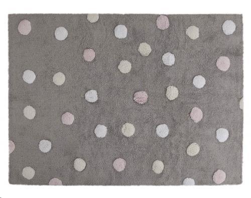 Topos Tricolor Gris-Rosa / Tricolor Polka Dots Grey-Pink 120 x 160