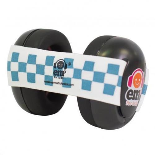 BLACK Em's 4 Bubs Blue/White gehoorbeschermers