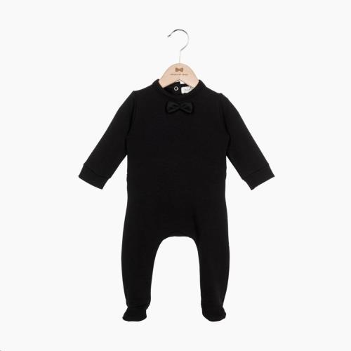 Bow Tie babysuit - Black 50-56