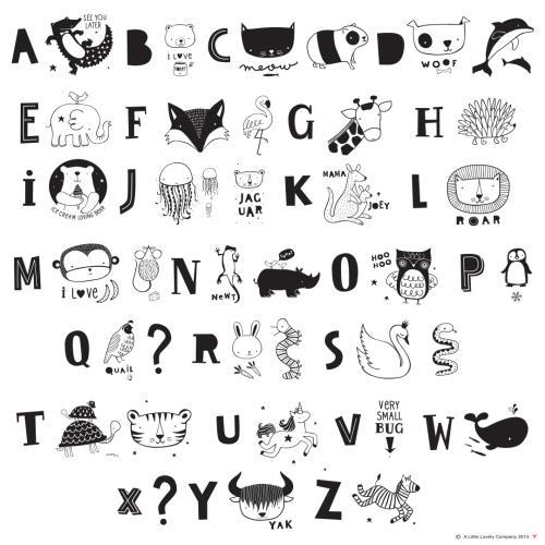 Lightbox letter set: ABC - black