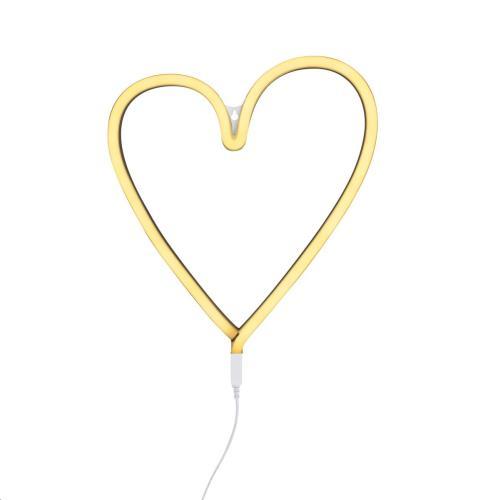 Neon stijl lamp: Hart - geel