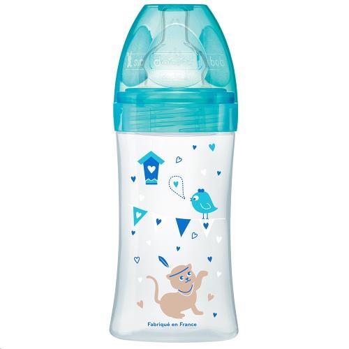 Drinkfles 270ml LAGOON KAT 0-6 maand platte zuigspeen debiet 2