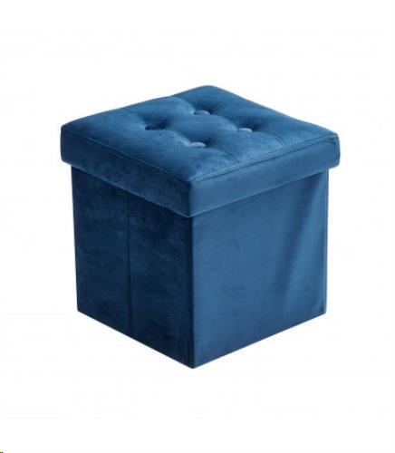 Poef + opbergbox klein velvet blauw
