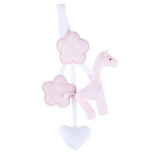 Knuffels Rammelaar speenhouder giraf roze Roze