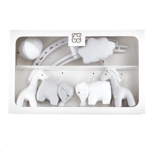 "Pearl Muziekmobiel ""olifanten en giraffen"" Grijs/wit"
