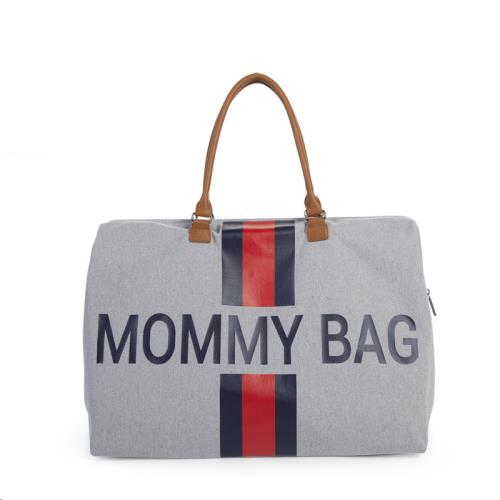 MOMMY BAG GROOT CANVAS GREY STRIPES RED/BLUE