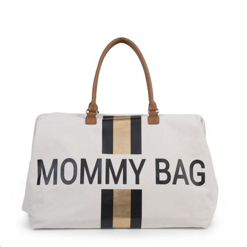 MOMMY BAG GROOT CANVAS OFF WHITE STRIPES BLACK/GOLD