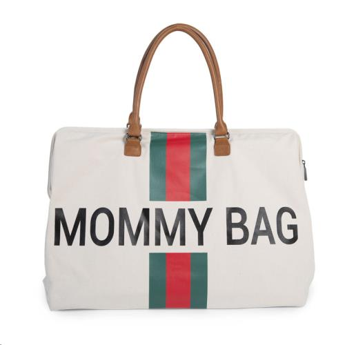 MOMMY BAG GROOT CANVAS OFF WHITE STRIPES GREEN/RED