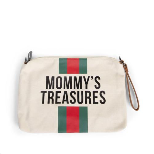 MOMMY CLUTCH CANVAS OFF WHITE STRIPES GREEN/RED