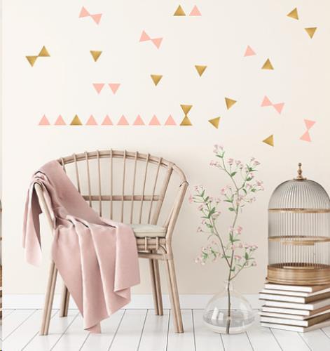 muur stickers driehoekjes goud en poeder roze H