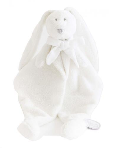 FLORE DOUDOU wit konijn knuffeldoek wit strikje