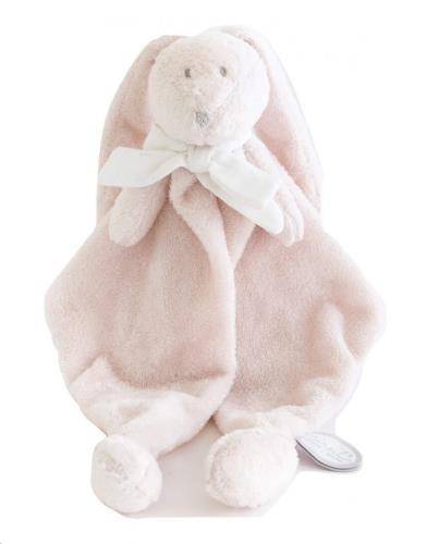 FLORE DOUDOU roos konijn knuffeldoek wit strikje