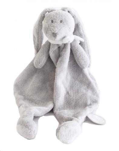 FLOR DOUDOU lichtgrijs konijn knuffeldoek wit strikje