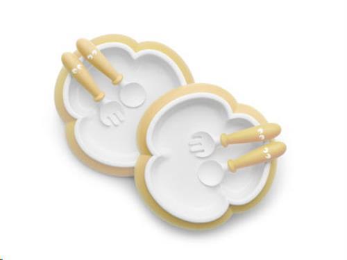 Babybord, Lepel en Vork, set van 2 Pastelgeel