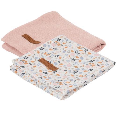 Swaddle doek 70 x 70 - pure pink /spring flowers (set van 2 designs)