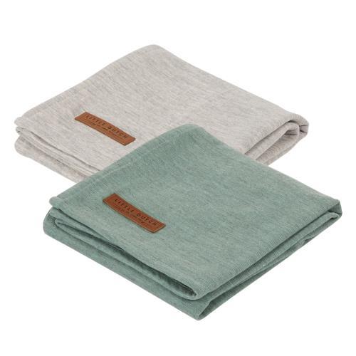 Swaddle doek 70 x 70 - pure mint /grey (set van 2 designs)