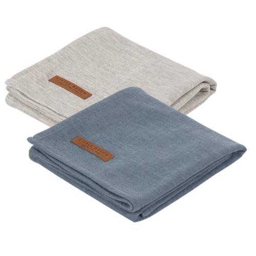 Swaddle doek 70 x 70 - pure blue /grey (set van 2 designs)