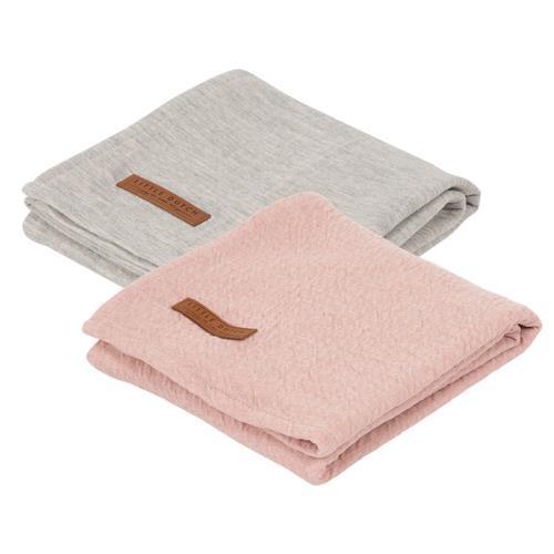 Swaddle doek 70 x 70 - pure pink /grey (set van 2 designs)