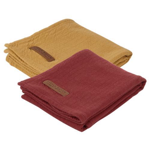 Swaddle doek 70 x 70 - pure indian red /ochre (set van 2 designs)