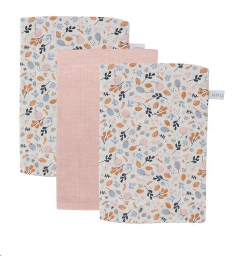 Washand - pure pink / spring flowers (set van 3)