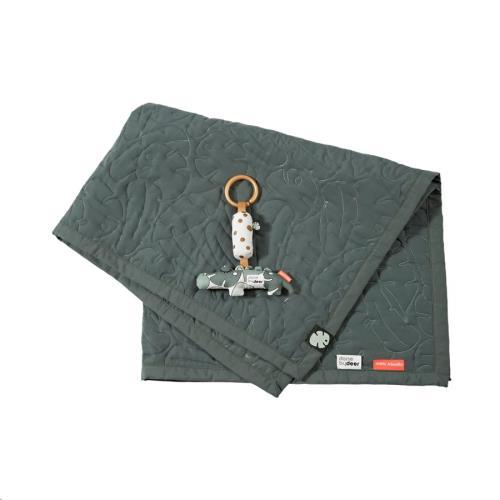 Quilt & Croco gift box, Tiny tropics, Quilt: 80 x 100 cm. Toy: 26 x 3  x 18 cm
