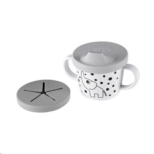 Silicone spout/snack cup, Elphee, grey